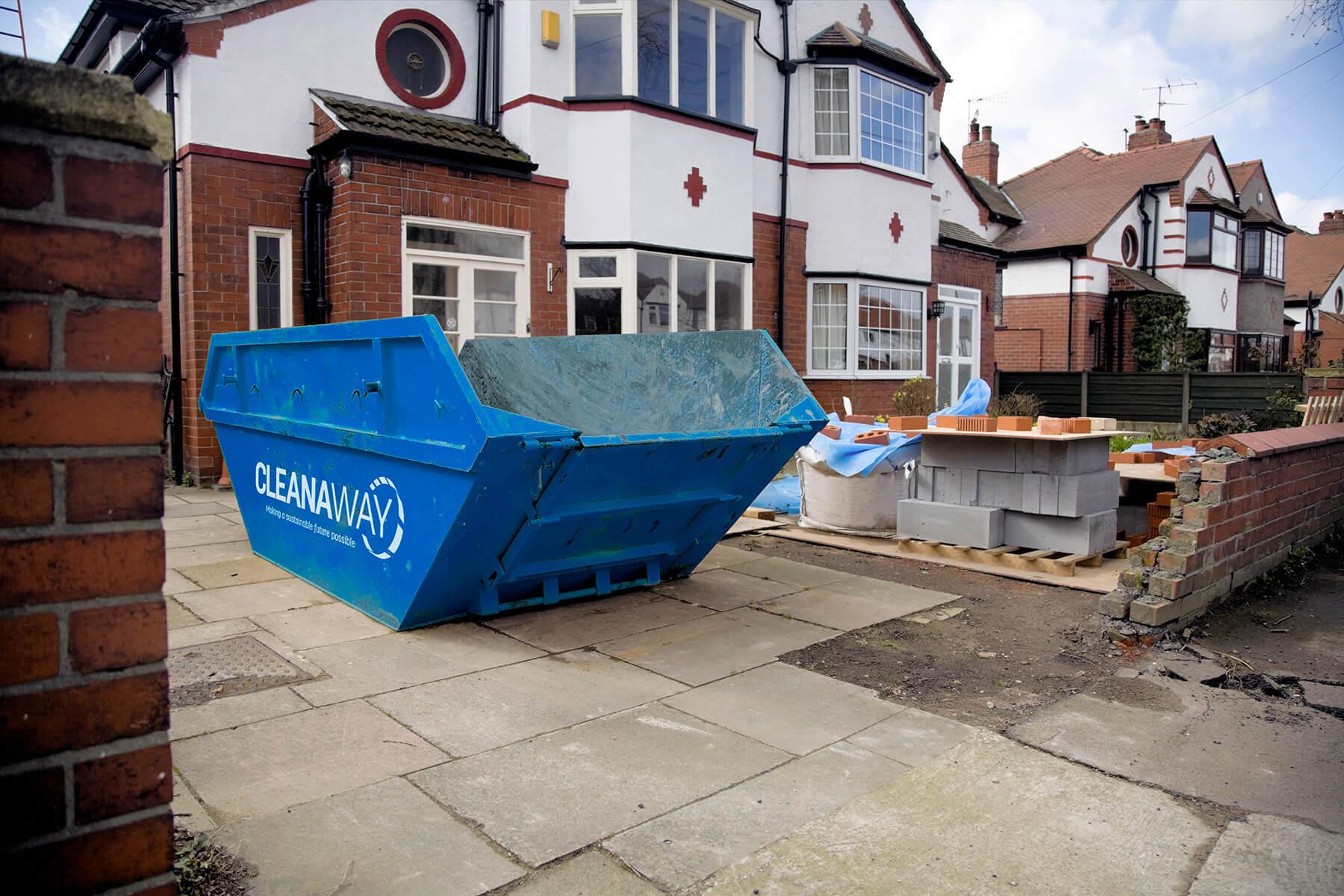 Cleanaway skip bin in the driveaway