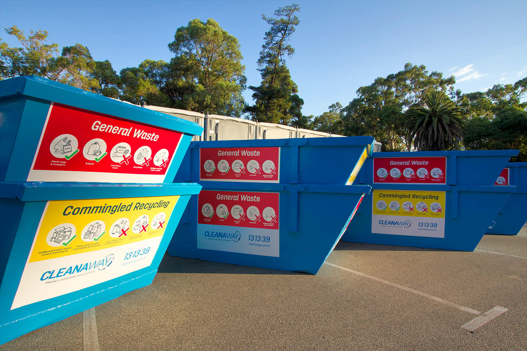 Cleanaway skips divided into purposes