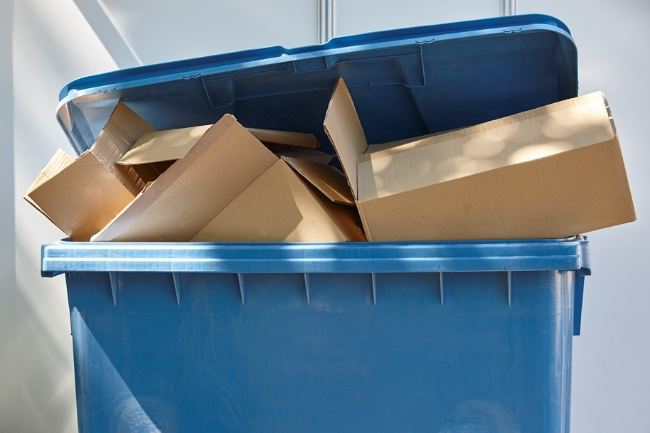 Skipbin with Cardboards