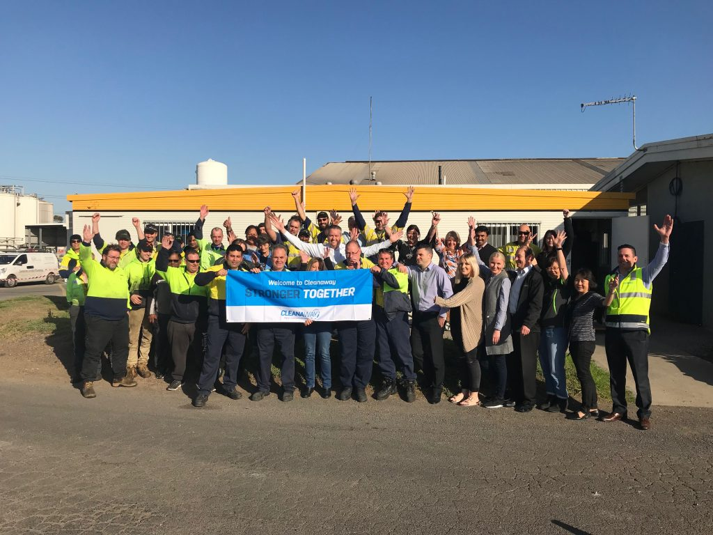 Clete Elms, GM Solid Waste Services VIC/TAS, with Jason Crann and the team at TES Laverton in VIC