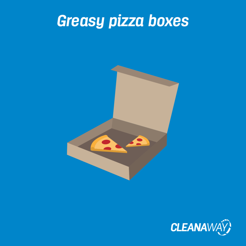 Greasy pizza boxes