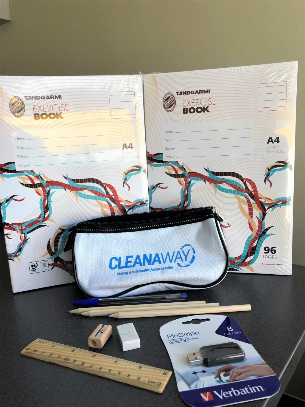Cleanaway's merchandise team and prepared 100 school packs which contained pencils, rubbers, sharpeners, rulers, pens, exercise books and USB thumb drives