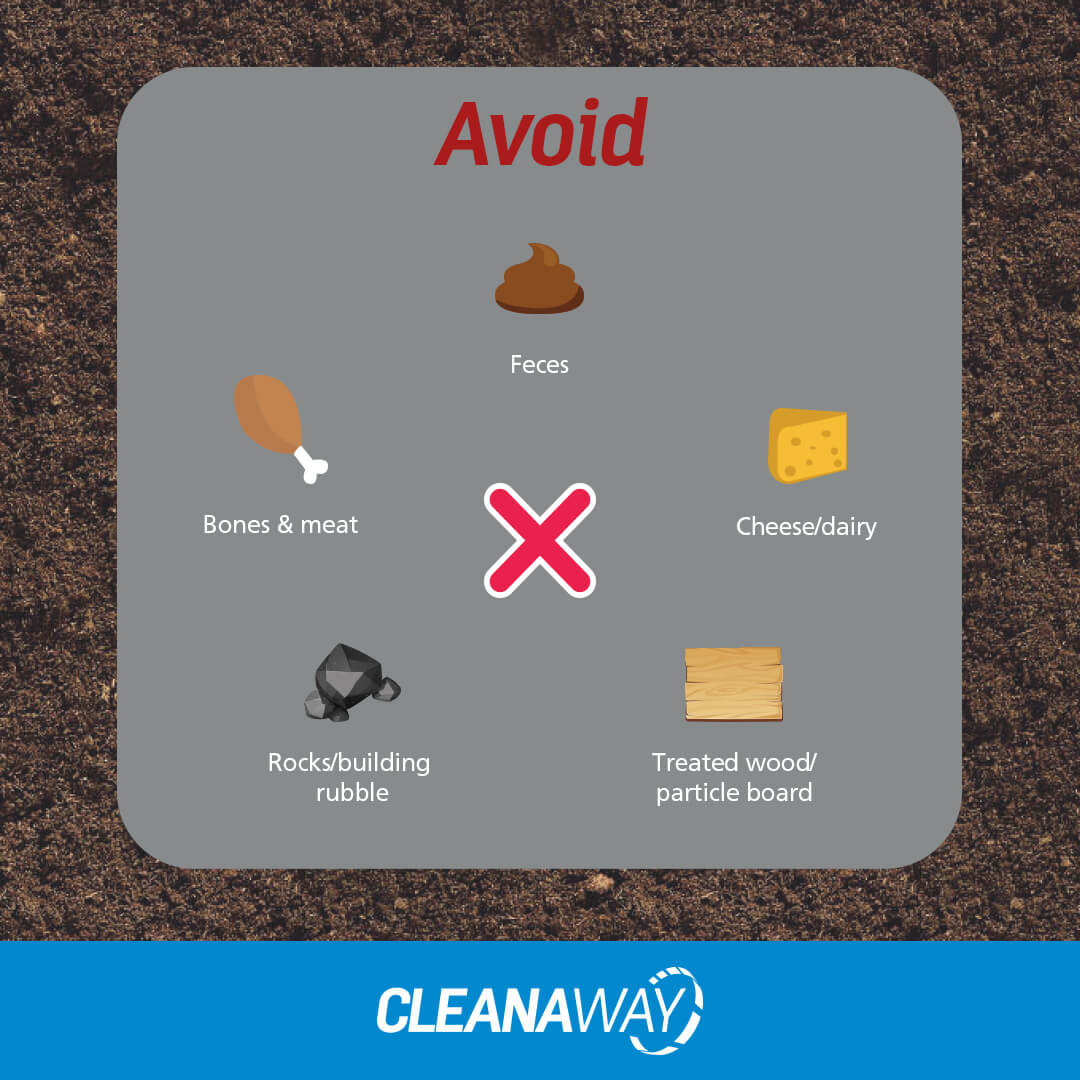 Ensure your bin is covered to avoid flies and rodents and avoid unsuitable materials