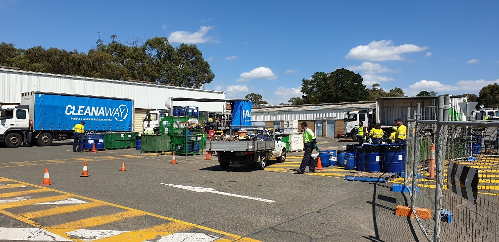 Cleanaway team busy with hazardous waste disposal service