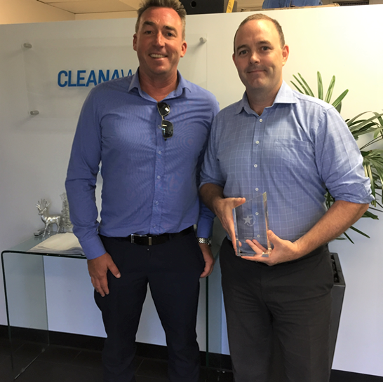 Mark (right) pictured with and Liquids and Technical Services General Manager Karl Baltpurvins