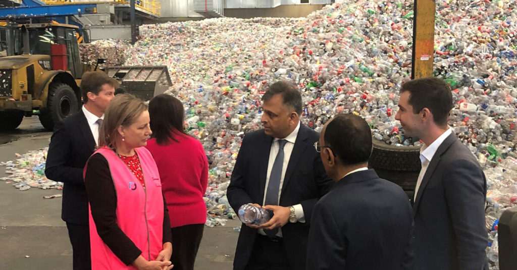 Cleanaway CEO and Managing Director Vik Bansal speaking to the Minister for the Environment The Hon Sussan Ley MP