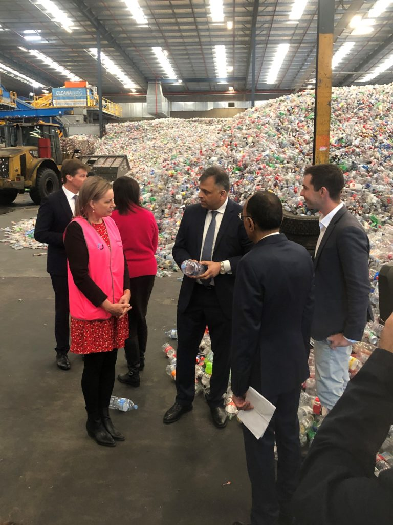 Cleanaway CEO and Managing Director Vik Bansal speaking to Minister for the Environment The Hon Sussan Ley MP