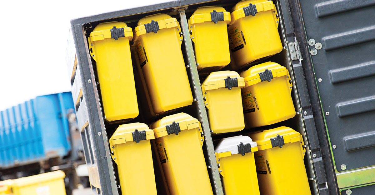Pictured: Locally manufactured clinical waste bins ready to be delivered to healthcare customers