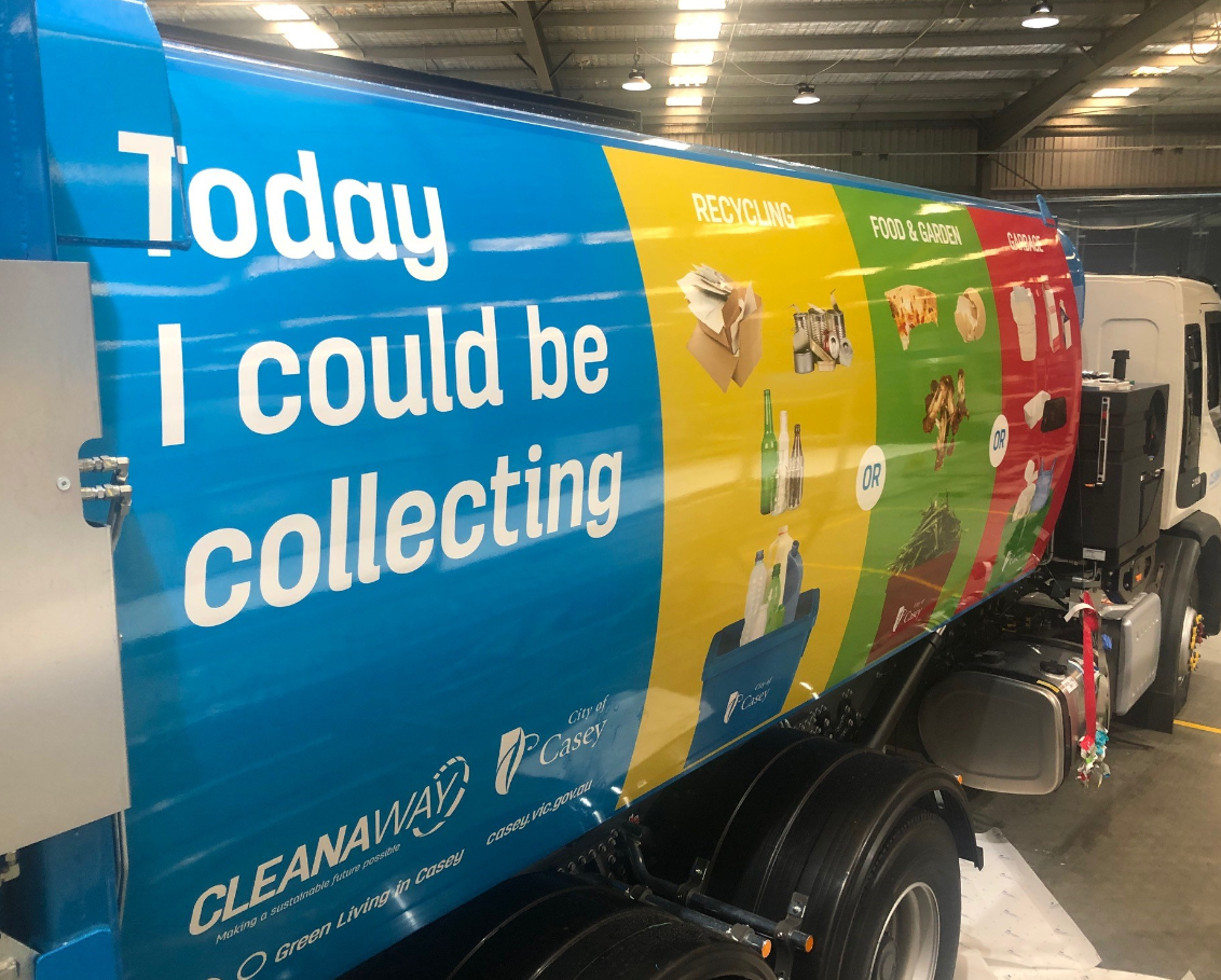 New Cleanaway truck artwork featuring waste and recycling tips