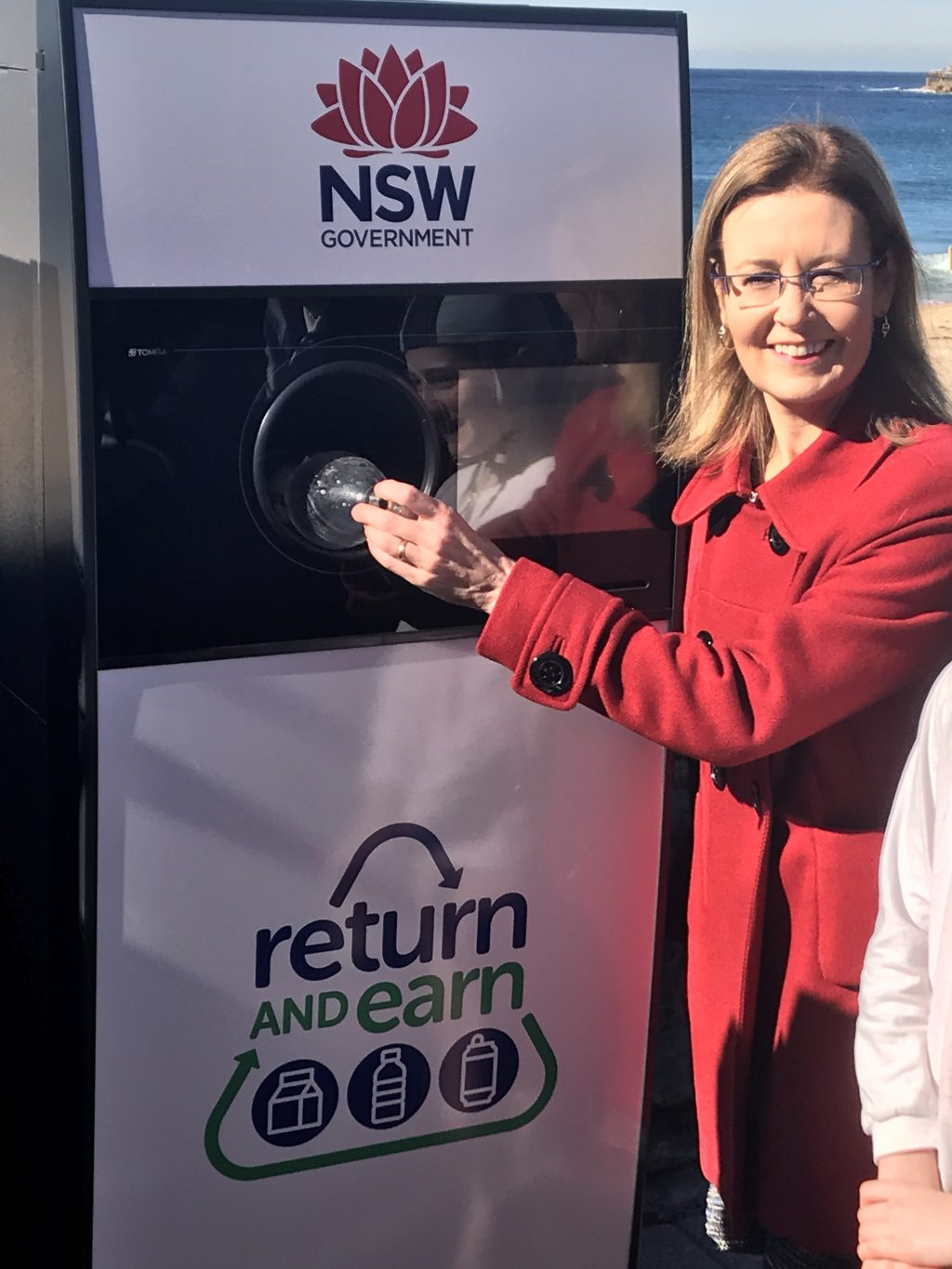 "NSW Environment Minister Gabrielle Upton at the announcement of ""Return and Earn"" at Coogee Beach, NSW."